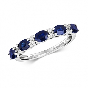 Diamond & Sapphire 13 stone ring, 1.35ct, 9k White Gold