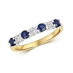 Diamond & Sapphire 7 stone ring, 0.86ct, 9k Gold