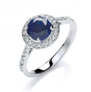 Diamond & Sapphire Halo Ring 0.85ct, White Gold