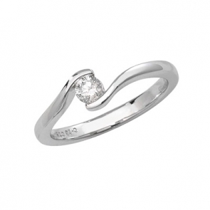 Diamond Solitaire Cross-Over Ring 0.20ct, 9k White Gold
