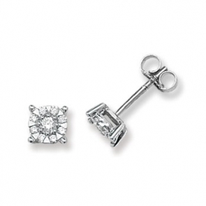 Diamond Studs Illusion Set 0.35ct, 9k White Gold