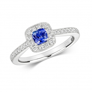 Diamond & Tanzanite Cushion Ring 0.56ct, 9k White Gold