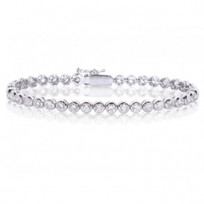 Diamond Tennis Bracelet 4.00ct, 18k White Gold G/SI1