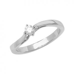 Diamond Wave Engagement Ring 0.15ct, White Gold