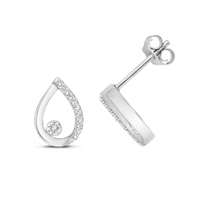 Diamond Pear Stud Earrings 0.09ct. 9k White Gold