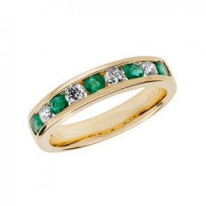 Emerald & Diamond Half Eternity Ring 0.88ct, 9k Gold