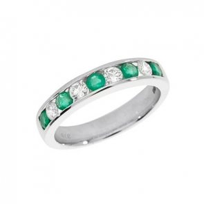 Emerald & Diamond Half Eternity Ring 0.89ct, 9k White Gold