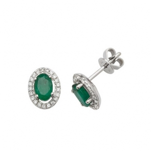 Emerald & Diamond Oval Halo Earrings, 9k White Gold
