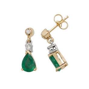Emerald & Diamond Pear Drop Earrings, 9k Gold