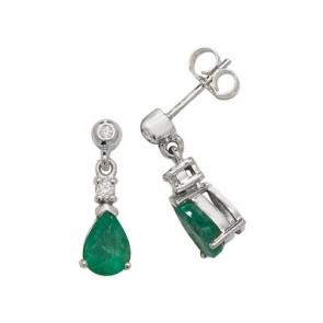 Emerald & Diamond Pear Drop Earrings, 9k White Gold