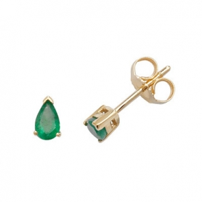 Emerald Pear Stud Earrings Claw Set, 9k Gold