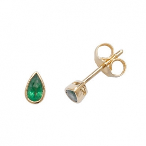 Emerald Pear Stud Earrings Rub-Over, 9k Gold