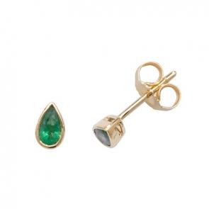 Emerald Pear Stud Earrings Rub-Over, 9k Gold
