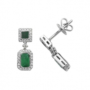 Emerald & Diamond Drop Earrings 0.98ct, 9k White Gold