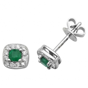 Emerald & Diamond Earrings 0.40ct, 9k White Gold