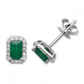 Emerald & Diamond Earrings 0.86ct, 9k White Gold