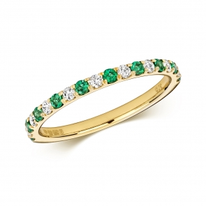 Emerald & Diamond Half Eternity Ring 0.35ct, 9k Gold
