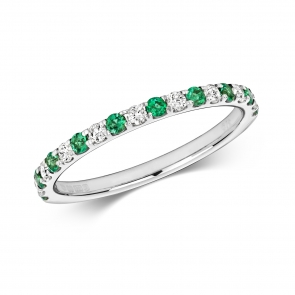 Emerald & Diamond Half Eternity Ring 0.35ct, 9k White Gold