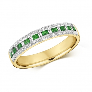 Emerald & Diamond Half Eternity Ring 0.44ct, 9k Gold