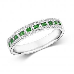 Emerald & Diamond Half Eternity Ring 0.44ct, 9k White Gold