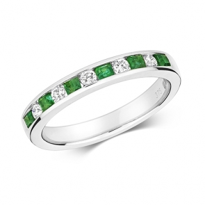 Emerald & Diamond Half Eternity Ring 0.45ct, 9k White Gold