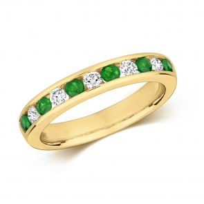 Emerald & Diamond Half Eternity Ring 0.56ct, 9k Gold