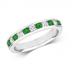Emerald & Diamond Half Eternity Ring 0.56ct, 9k White Gold