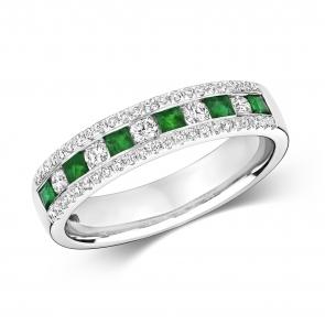 Emerald & Diamond Half Eternity Ring 0.65ct, 9k White Gold