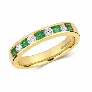 Emerald & Diamond Half Eternity Ring 0.66ct, 9k Gold