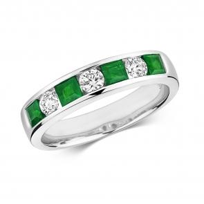Emerald & Diamond Half Eternity Ring 1.11ct, 9k White Gold