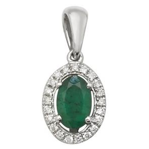 Emerald & Diamond Oval Drop Pendant Necklace, 9k Gold