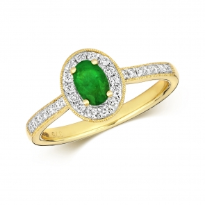 Emerald & Diamond Oval Ring 0.70ct, 9k Gold