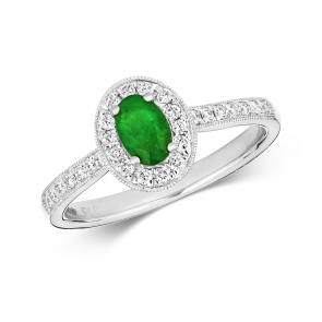 Emerald & Diamond Oval Ring 0.70ct, 9k White Gold