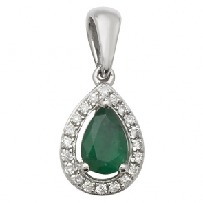 Emerald & Diamond Pear Drop Pendant Necklace, 9k Gold