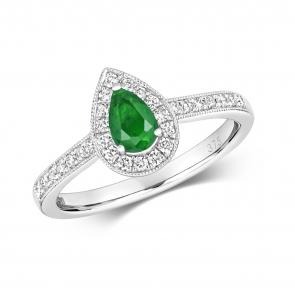 Emerald & Diamond Pear Shape Ring, 9k White Gold