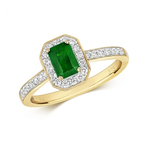 Emerald Ring with Diamond Surround, 0.86ct. 9k White Gold