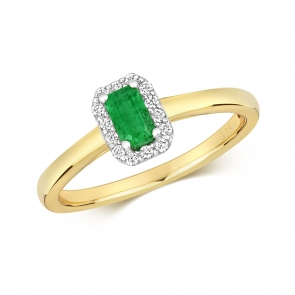 Emerald & Diamond Ring, Emerald Cut 0.37ct. 9k Gold