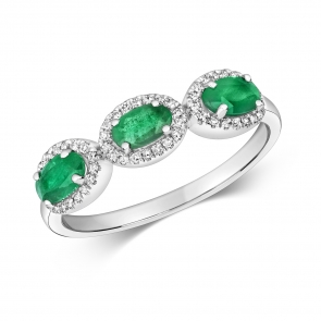 Emerald & Diamond Trilogy Ring 1.05ct, White Gold