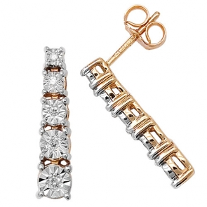 Diamond Illusion Set Drop Earrings 0.10ct, 9k Gold