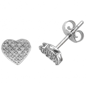 Diamond Heart Earrings 0.10ct, 9k White Gold
