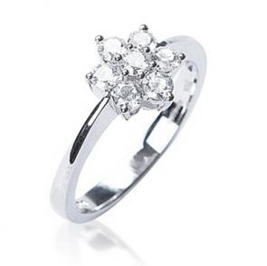 Diamond Seven Stone Cluster Ring 0.50ct, 18k White Gold