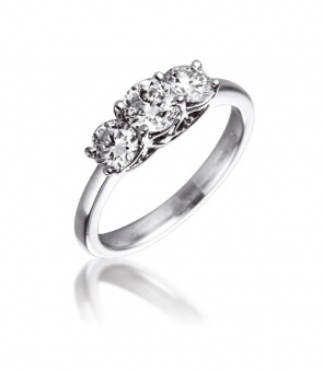 Diamond Three Stone Trilogy Ring 1.00ct, 18k White Gold