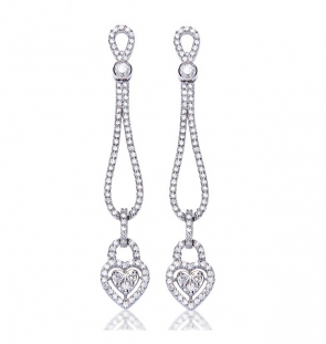 Diamond Heart Drop Earrings 2.25ct, 18k White Gold