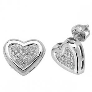 Diamond Heart Earrings 0.13ct, 9k White Gold
