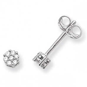 Diamond Cluster Stud Earrings 0.07ct, 9k White Gold