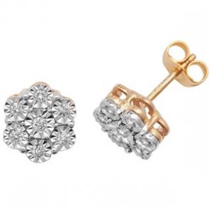 Diamond Illusion Set Stud Earrings 0.25ct, 9k Gold