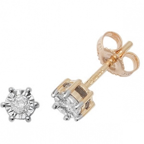 Diamond Illusion Set Stud Earrings 0.11ct, 9k Gold