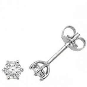 Diamond Illusion Set Stud Earrings 0.15ct, 9k White Gold