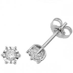 Diamond Illusion Set Stud Earrings 0.20ct, 9k White Gold