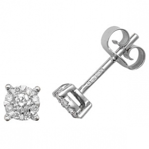 Diamond Studs Illusion Set 0.16ct, 9k White Gold